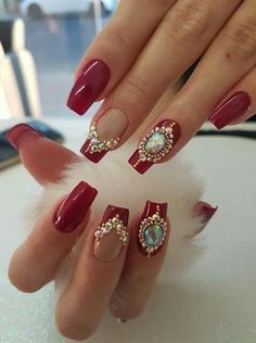 43 Ideas Nails Red Design Holidays For 2019 Fancy Nails, Bling Nails, Red Nails, Cute Nails, Pretty Nails, Hair And Nails, Bridal Nails, Wedding Nails, Nails Decoradas