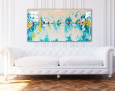 Abstract Art Large Canvas Painting Neutral by BlueberryGlitter