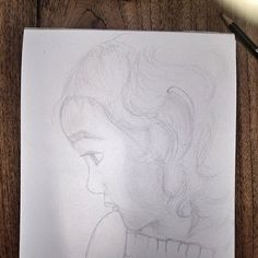 """""""Angie""""  Rough sketch portrait of my niece. I'm not sure how i'm gonna finish this work, whether with watercolor or pencil shading."""
