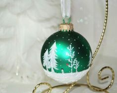 Hand-painted glass globe ornaments - snowy trees