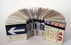 Adele Outteridge:  Bus Ticket book (300 journeys). Bus ticket book that consist of 300 journeys. Everyday objects might not mean anything when it is stand alone. but when it is bounded together, the message is strong and clear.