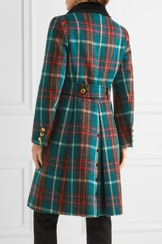 Miu Miu - Velvet-trimmed Double-breasted Checked Wool-blend Peacoat - Green - IT38