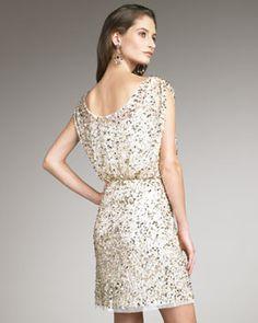 Aidan Mattox  Off-Shoulder Sequined Dress, light gold