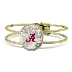 Worn gold tone officially licensed University of Alabama vintage style hinged bracelet. Color or tone may vary.