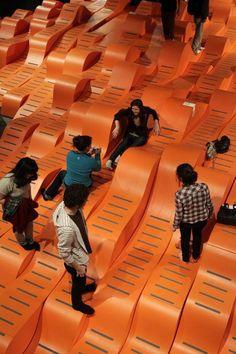 Idea BAMscape by Faulders Studio in Berkeley, United States Exhibition Space, Museum Exhibition, Art Museum, Urban Furniture, Street Furniture, Playground Design, Parking Design, School Architecture, Modern Architecture