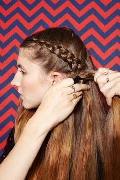 """You're still grabbing pieces of hair on each side of the braid and weaving them into the plait as you go, but remember: You're bringing the hair under, and over to the other side, to create an inside-out French braid. """"This is a great option if you don't like having your hair tight against your head,"""" Brill says. """"The braid adds some height and is more pronounced."""""""