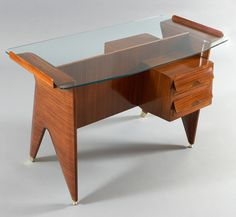 Anonymous; Rosewood, Glass and Brass Desk Attributed to Dassi, 1950s.