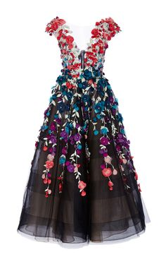 Floral Embroidered Tea Length Gown by Marchesa | Moda Operandi