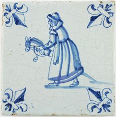Antique Dutch Delft tile depicting a child playing with a hobby horse, 17th century