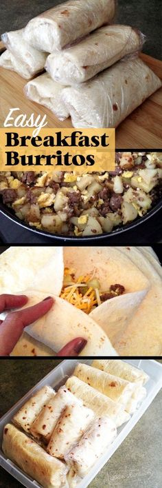 Make delicious and easy Breakfast Burritos. No time for breakfast? Turn a skillet full of yummy breakfast food into heat and go breakfast burritos. Add your own favorite flavors. Eat now or freeze and…MoreMore Delicious Breakfast Recipes, Yummy Food, Brunch Recipes, Healthy Recipes, Mexican Breakfast Recipes, Mexican Recipes, Indian Recipes, Recipes Dinner, Appetizer Recipes