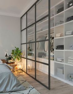 Home Interior Livingroom 71 Gorgeous Scandinavian Bedroom Decorating Ideas.Home Interior Livingroom 71 Gorgeous Scandinavian Bedroom Decorating Ideas Closet Bedroom, Home Bedroom, Bedroom Storage, Closet Wall, Bedroom Divider, Room Dividers, Master Bedrooms, Glass Room Divider, Mirror Bedroom