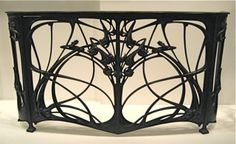 Art Nouveau wrought iron fireplace screen