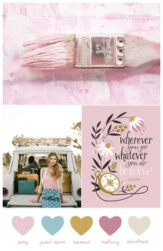 color palette featuring a washed out vintage-inspired combination of peony pink, faded denim blue and rich mustard yellow. Colour Pallette, Colour Schemes, Color Combos, Pink Palette, Color Palate, Mustard Wedding Colors, Color Theory, My Favorite Color, Pantone