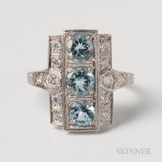 Art Deco-style Platinum, Aquamarine, and Diamond Ring. | Lot 1346 | Auction 3013T | Estimate $400-600