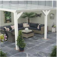 Pergola Front Of House Metal Pergola, Pergola With Roof, Diy Pergola, Pergola Kits, Pergola Designs, Patio Design, Garden Design, Outdoor Rooms, Outdoor Gardens