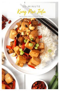 You're going to love this Kung Pao Tofu. Tofu marinated in a sweet, spicy, and salty sauce and sautéed with bell peppers, red chilis, and eggplant for an easy vegan and gluten-free meal. Made in under 20 minutes!