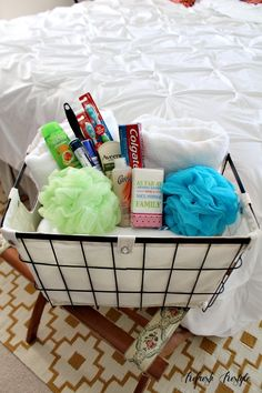 Organize with wire baskets, perfect to tote to any room. Welcome basket w/guest ready bath essentials - Guest Room Essentials - Refresh Restyle Guest Welcome Baskets, Guest Room Baskets, Guest Basket, Guest Room Decor, Guest Room Essentials, Bathroom Essentials, Welcome Gifts, Guest Bedrooms, Cottage Bedrooms