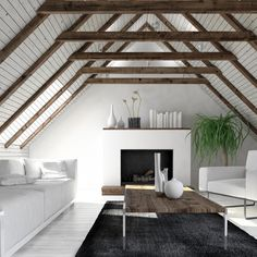 Attic living room in minimalist interior design with white sofa, fireplace and coffee table. Attic Living Rooms, Attic Bedroom Small, Attic Spaces, Attic Closet, Attic Bathroom, Dream Bedroom, Attic Renovation, Attic Remodel, Attic Design