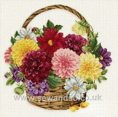 Dahlia Basket - Mary Janes Cross and Stitch Embroidery Store, Embroidery Patterns Free, Embroidery Kits, Cross Stitch Embroidery, Cross Stitch Love, Cross Stitch Flowers, Cross Stitch Designs, Cross Stitch Patterns, Needlepoint Kits