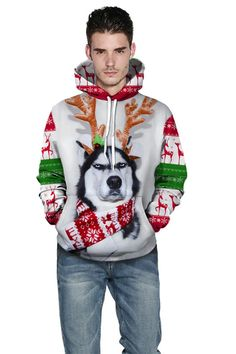 Funny Christmas hoodies with white dog print Christmas hoodie – menlivestyle Hooded Sweater, Fleece Hoodie, Long Sleeve Sweater, Christmas Sweaters, Christmas Hoodie, Funny Christmas, Digital Print, Bridesmaid Jewelry Sets, White Dogs