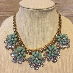 Beautiful Statement Necklace A very bold and beautiful statement necklace with mint green beads and clear rhinestones on a gold tone thick chain.  About 18 inches long with a 3 inch extender.  In excellent condition.  Like new! Jewelry Necklaces