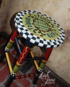 HAND PAINTED FUNKY whimsical bar stool.
