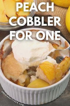 This single serving peach cobbler is so easy to make from scratch and can be made with fresh or canned peaches so you can enjoy it year-round. Served alone, with whipped cream, or with ice cream, this southern fruit-filled dessert is fantastic! Ice Cream Recipes, Pie Recipes, Cooking Recipes, Slushie Recipe, Single Serving Recipes, Summer Dessert Recipes, Canned Peaches, Cooking For One, Kitchen Dishes