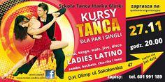 KURS TAŃCA dla początkujących (dla singli i par) - tańce towarzyskie, salsa i tańce użytkowe. (3 m-ce: październik-grudzień, 16 lekcji x1,5h)  START: 27 LISTOPADA 2015 (piątek) GODZ: 20.00 - spotkanie organizacyjne  MIEJSCE: D.H.OLIMP Siedlce ,ul. Sokołowska 47 (Centrum Rehmedica)