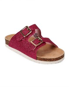 a595f36dfc26 Amazon.com | EK43 Glitter Open Toe Double Buckle Footbed Sandal (Little  Girl/ Big Girl) - Fuchsia (Size: Little Kid 12) | Sandals