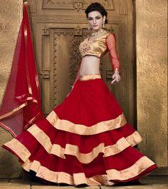 Semi Stitched A Line Lehenga Choli In Red Colour Red Colour Net Fabric Designer A Line Lehenga Choli Comes With Matching Blouse and Dupatta. This Lehenga Choli Is Crafted With Lace Work,Embroidery. The Lehenga Is Semi Stitched and Blouse Comes as Un. Bollywood Lehenga, Net Lehenga, Bridal Lehenga Choli, Anarkali, Gagra Choli, Indian Clothes Online, Modern Saree, Lehnga Dress, Party Wear Lehenga