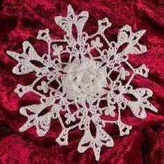 3D Wild Rose Snowflake | AllFreeCrochet.com