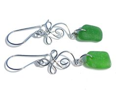 Celtic Sea Glass Earrings  Hand Forged by SeaglassReinvented, $42.00