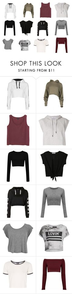 """""""Cropped Tops"""" by elliebielby ❤ liked on Polyvore featuring Topshop, Monki, adidas, Religion Clothing, Glamorous, awesome, chic, croptop, chill and CroppedHoodie"""