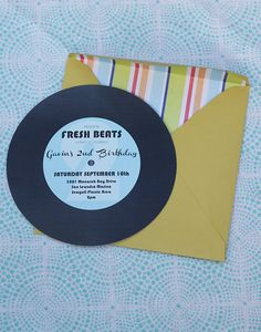 Music Party Record Invitation  Fresh Beats by cakeevents on Etsy, $16.00