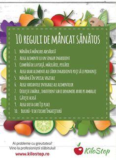 #alimentatie #sanatate #diete O alimentație sănătoasă nu trebuie să fie neapărat ceva complicat sau costisitor. Iată 10 reguli simple de care să ții cont pentru a putea spune că mănânci sănătos! Health Snacks, Health Diet, Health And Nutrition, Fitness Diet, Health Fitness, Healthy Tips, Healthy Recipes, Weight Loss Juice, Eat Smart