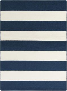 7.75' x 10.25' Bold Stripes Colabt Blue and Ivory Decorative Area Throw Rug *** Be sure to check out this awesome product. (This is an affiliate link and I receive a commission for the sales)