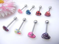 NEW Body Piercing 14G Tongue Rings Bars Barbells Heart Styles Mix