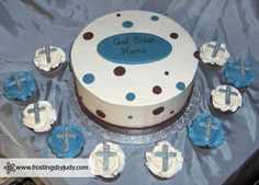Blue & Brown First Communion Cake