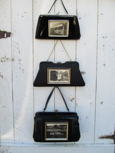 Make a fabulously unique and functional wall collage with these 3 vintage black purses (each purse has a retro gold-tone frame attatched--with