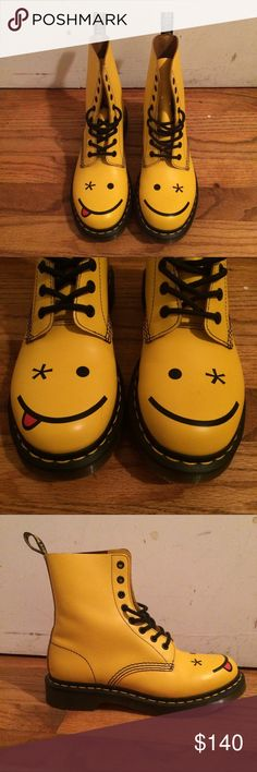 Dr. Martens Yellow Smiley Women's 8 Limited edition Hincky Doc Marten boots. Worn twice indoors. Dr. Martens Shoes Combat & Moto Boots