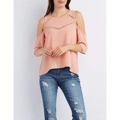 Charlotte Russe Crochet-Inset Cold Shoulder Top ($22) ❤ liked on Polyvore featuring tops, light coral, cut out top, open shoulder top, cut out shoulder top, short sleeve tops and sheer tops