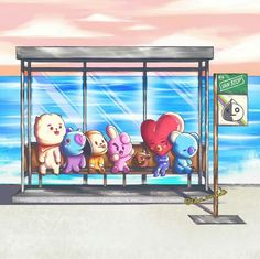 BT21 you never walk alone poster bus stop