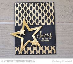 Handmade card from Kimberly Crawford featuring Hand Lettered Holiday stamp set, Winter Waves Background stamp, and Basic Stitch Lines and Stitched Star STAX Die-namics #mftstamps