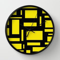 Deep Yellow And Black Puzzle Wall Clock