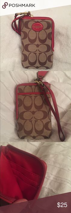 Authentic Coach Wristlet / Wallet Authentic Coach wristlet / wallet. This wristlet has three inside slots specifically for cards and then more room to store items (a small phone like an iPhone 6 or smaller or great for makeup). There is also a back pocket on the wristlet as well! It is tan / salmon colored. I never used this wristlet. There are no signs of wear or marks. It comes from a pet and smoke free home 🏡💜 Message me with questions! Coach Bags Clutches & Wristlets