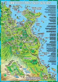 Kailua Map - Detailed Neighborhood Map of Kailua, Lanikai and Waimanalo Oahu, Hawaii Streets and Roads with Marine Corps Base Hawaii and Bellows