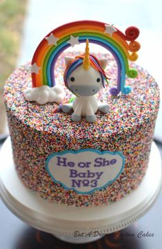 Unicorn Gender Reveal Cake by Elisabeth Palatiello