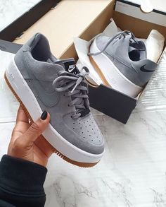 Shop Wmns Air Force 1 Sage Low 'Cool Grey' - Nike on GOAT. We guarantee authenticity on every sneaker purchase or your money back. Dr Shoes, Tennis Shoes Outfit, Hype Shoes, Cool Nike Shoes, Nike Tennis Shoes, Nike Custom Shoes, White Nike Shoes, Black And White Shoes, Cheap Shoes