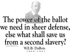 """ThinkerShirts.com presents W.E.B. DuBois and his famous quote """"The power of the ballot we need in sheer defense, else what shall save us from a second slavery?"""" Available in men, women and youth sizes"""