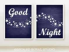 Good Night Stars  8x10  Set of 2  Navy Blue by spoiledroyalstudio, $28.00